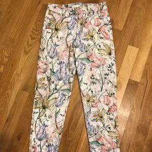 H & M floral ankle pants